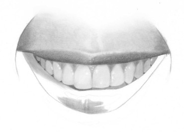 how to draw a smiling mouth with teeth